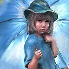girl with blue umbrella by jashumbert