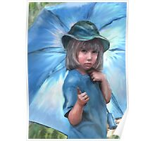 girl with blue umbrella Poster
