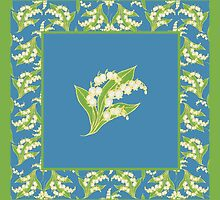 Art Nouveau Lily of the Valley Motif and Border on Blue by Judy Adamson