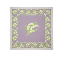 Art Nouveau Lily of the Valley Motif and Border on Mauve Scarf