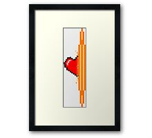 Heart through orange portal (version 1) Framed Print