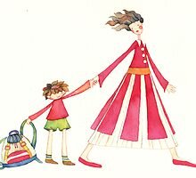 "Back to school, illustration of the story ""backpack"" by vimasi"