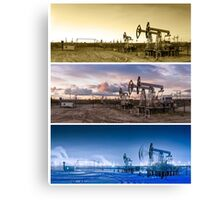 3 panoramas oil pumpjack. Canvas Print