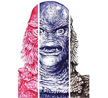 Creature From the Black Lagoon,  A ball point pen portrait.  Photographic Print
