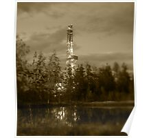 Oil drilling rig. Poster