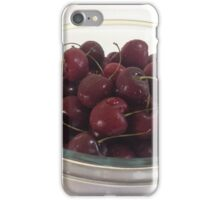 Bowl of Dark Red Cherries with Drops of Water iPhone Case/Skin