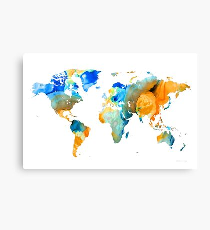 World Map Art - Map Of The World 14 - By Sharon Cummings Canvas Print
