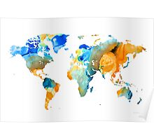 World Map Art - Map Of The World 14 - By Sharon Cummings Poster