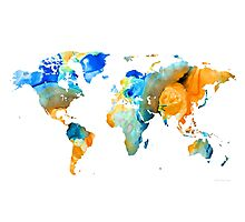 World Map Art - Map Of The World 14 - By Sharon Cummings Photographic Print