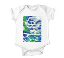 Abstract Army Pattern in Blue One Piece - Short Sleeve