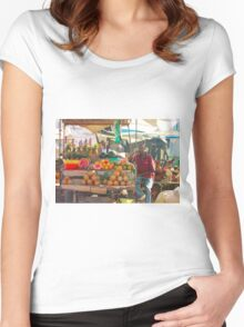 Fruits, Vegetables & Animals Bazar in Nairobi, KENYA Women's Fitted Scoop T-Shirt