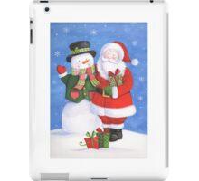 Cute Santa and snowman sharing presents iPad Case/Skin