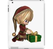 Cute Toon Christmas Elf Wrapping a Present iPad Case/Skin