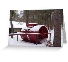 The equipment for building Roads in Winter time a snow Roller of1912 Greeting Card