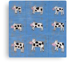 Nine happy cows Canvas Print
