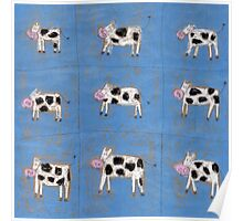 Nine happy cows Poster