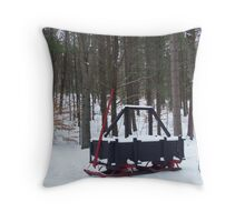 A sprinkler Sled for making Roads the Logging 1900 Throw Pillow