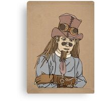 Steampunk Man with Awesome Hat Canvas Print