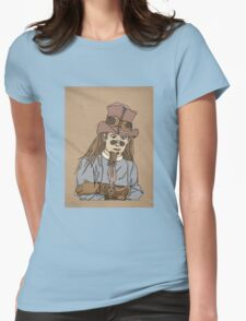 Steampunk Man with Awesome Hat Womens Fitted T-Shirt
