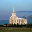 Oquirrh Mountain Temple Morning Light 20x24 by Ken Fortie