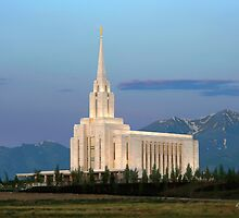 Oquirrh Mountain Temple Morning Light 20x30 by Ken Fortie