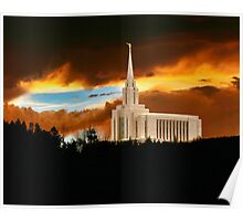 Oquirrh Mountain Temple Dark Sunset 20x24 Poster