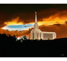 Oquirrh Mountain Temple Dark Sunset 20x24 Photographic Print
