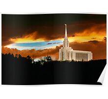 Oquirrh Mountain Temple Dark Sunset 20x30 Poster