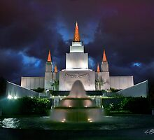 Oakland Temple Blue Sunset 20x24 by Ken Fortie