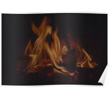Firelight -  flames in darkness Poster