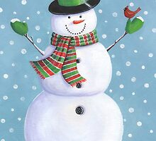 Cute snowman with cardinal by lizblackdowding