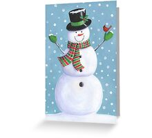 Cute snowman with cardinal Greeting Card