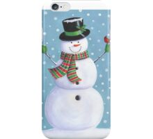 Cute snowman with cardinal iPhone Case/Skin
