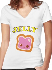 Couple - (Peanut Butter &) Jelly Women's Fitted V-Neck T-Shirt