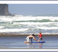 """Surfing..Learning How ..Piha Beach, New Zealand"" part 2 by Bruce Jones"