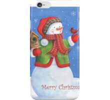 Cute snowman, birdhouse and cardinal iPhone Case/Skin