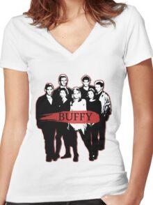 BTVS CAST (S3): The Scoobies! Women's Fitted V-Neck T-Shirt