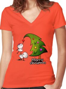 Merry Cristmas Women's Fitted V-Neck T-Shirt