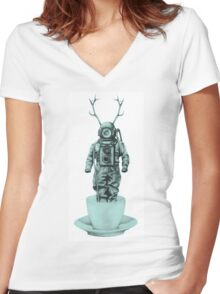 Deep Sea Crazy Surreal Women's Fitted V-Neck T-Shirt
