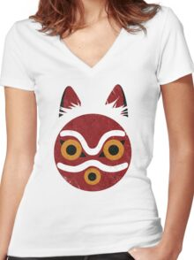 Mononoke Mask Women's Fitted V-Neck T-Shirt