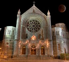 Lunar Eclipse over Church by Edvin  Milkunic