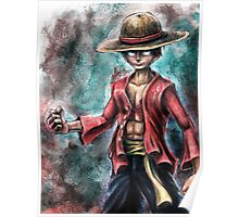 The King of Pirates a Tra-Digital Portrait of Luffy Poster