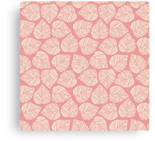 Modern Coral Pink Floral Leaves Pattern Canvas Print