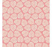 Modern Coral Pink Floral Leaves Pattern Photographic Print