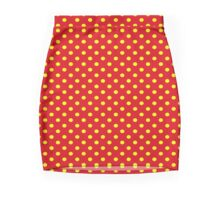 Red With Yellow Polka Dots Mini Skirt