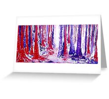 coloured trees in red and purple Greeting Card