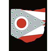 Ohio - State Flag Buckeyes - Black Photographic Print