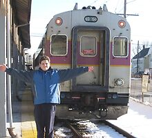 Me and the Commuter Rail at Stoughton Center Station by Eric Sanford