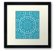 White Blue Mandala Design Framed Print