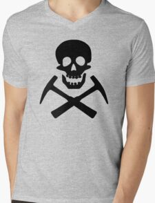 Skull & Cross Pick Hammers Mens V-Neck T-Shirt